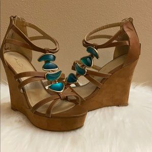 Aldo Tan & Teal Wedges size 7 great condition